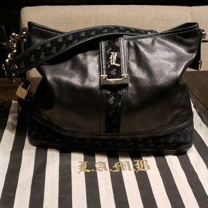 L.A.M.B. black leather shoulder bag